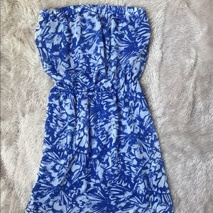 Express Blue Strapless Dress